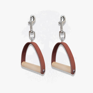 Pilates Lineage Pair of Apparatus Handles in Burgundy Leather
