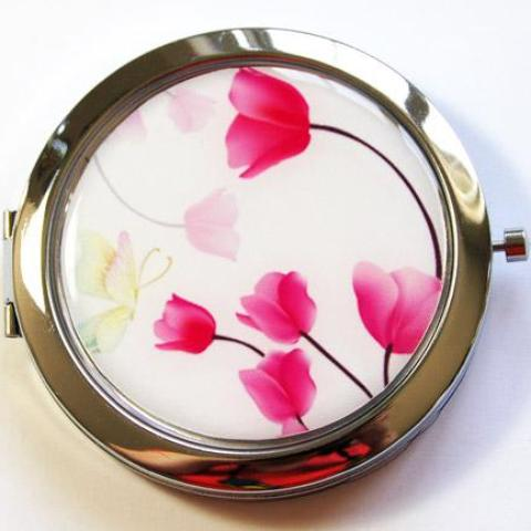 Tulip Compact Mirror in Pink - Kelly's Handmade