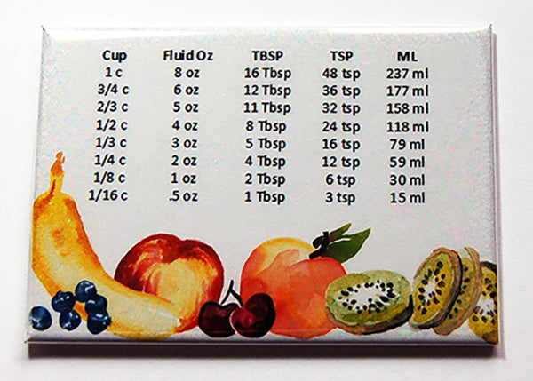 Fruit Quick Measure Conversion Magnet - Kelly's Handmade