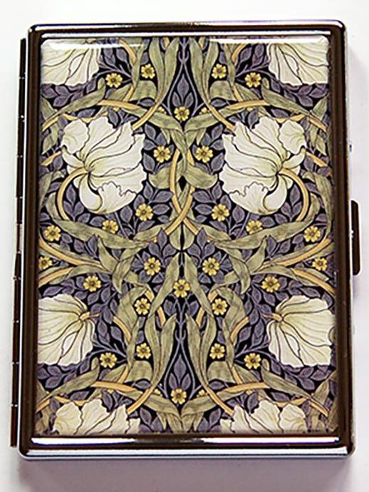 Decorative Arts Slim Cigarette Case Pimpernel Flowers - Kelly's Handmade