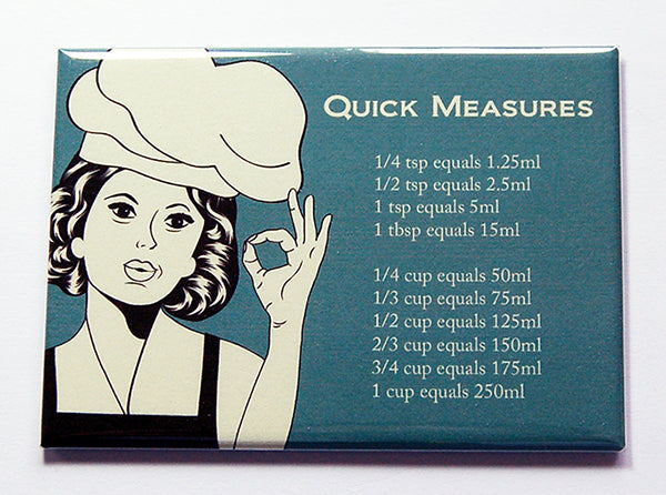 Chef Teal Quick Conversion Chart Magnet - Kelly's Handmade