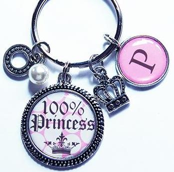 100% Princess Monogram Keychain - Kelly's Handmade