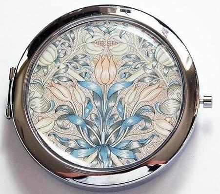 Decorative Arts Floral Pill Case with Mirror - Kelly's Handmade