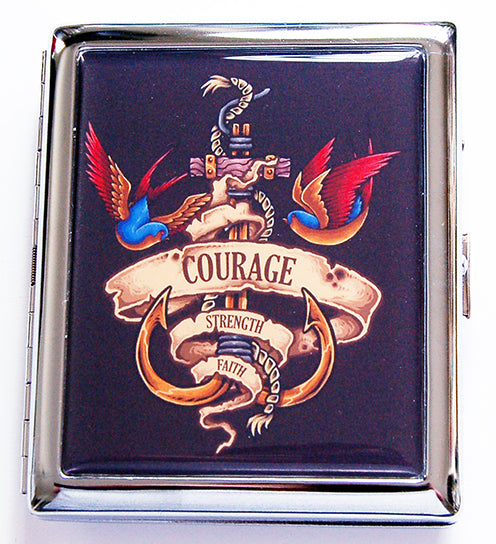 Old School Tattoo Compact Cigarette Case - Kelly's Handmade