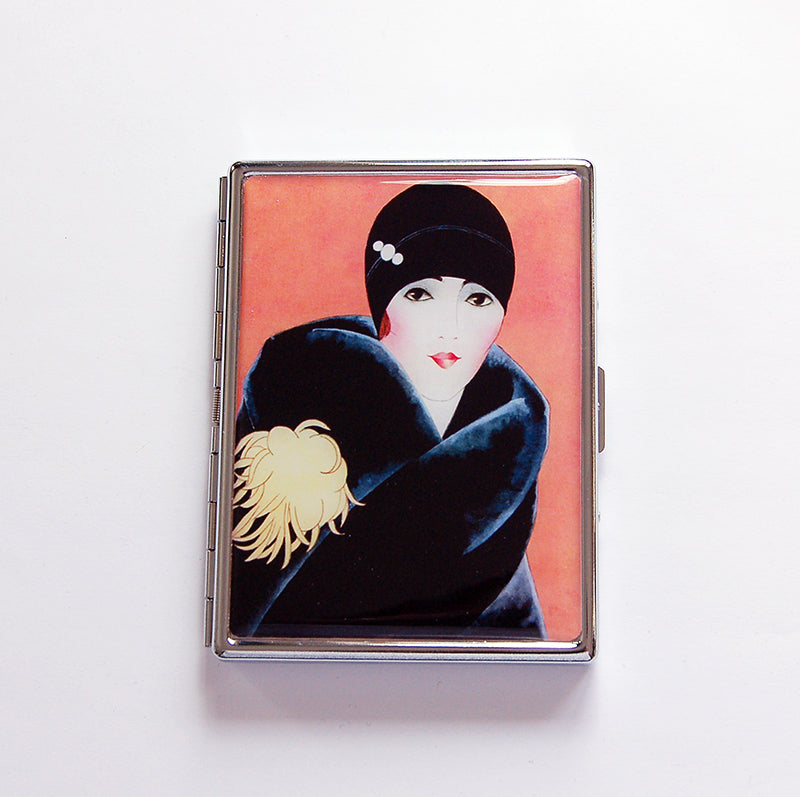 1920s Flapper Slim Cigarette Case in Orange - Kelly's Handmade