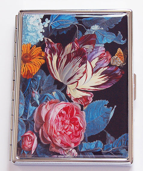 Floral Slim Cigarette Case in Blue & Pink - Kelly's Handmade