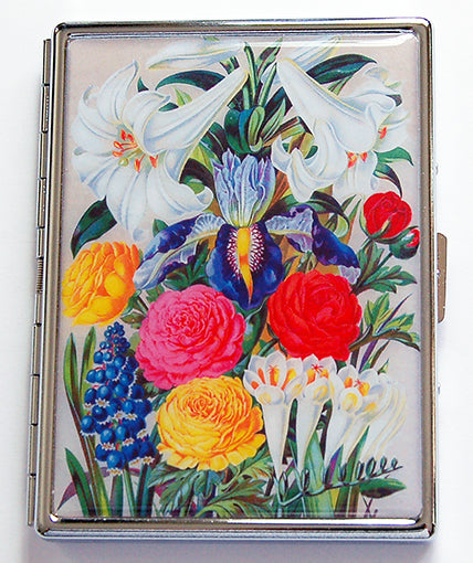 Floral Slim Cigarette Case Brightly Colored - Kelly's Handmade