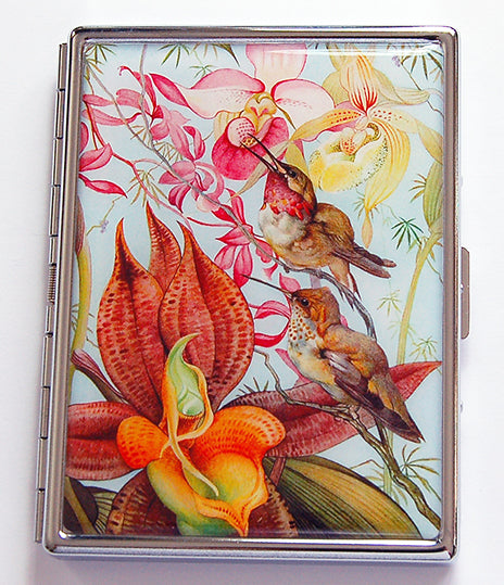 Flower & Hummingbird Slim Cigarette Case - Kelly's Handmade