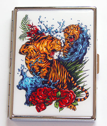 Fighting Tigers Slim Cigarette Case - Kelly's Handmade
