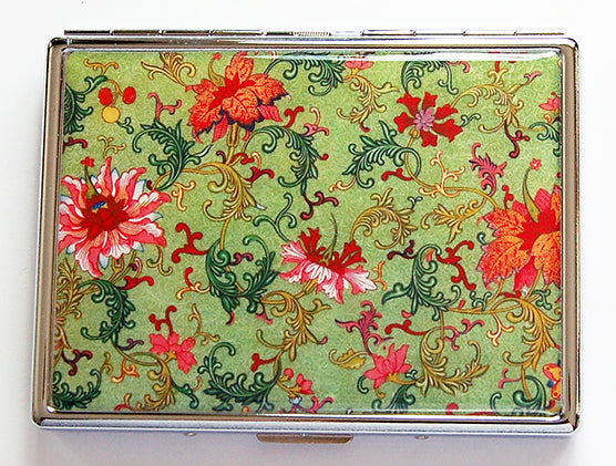 Venetian Floral Slim Cigarette Case in Green - Kelly's Handmade