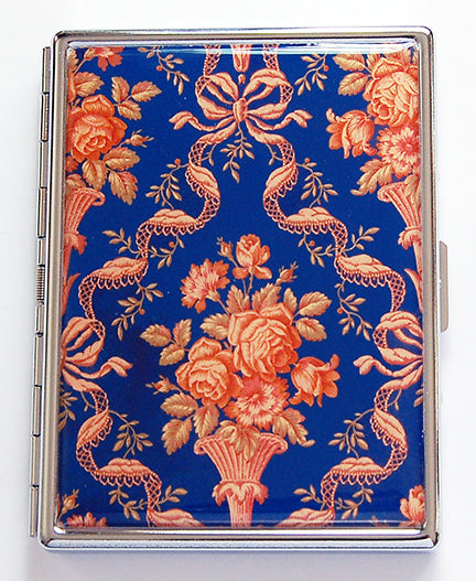 Ornate Slim Cigarette Case in Orange & Blue - Kelly's Handmade