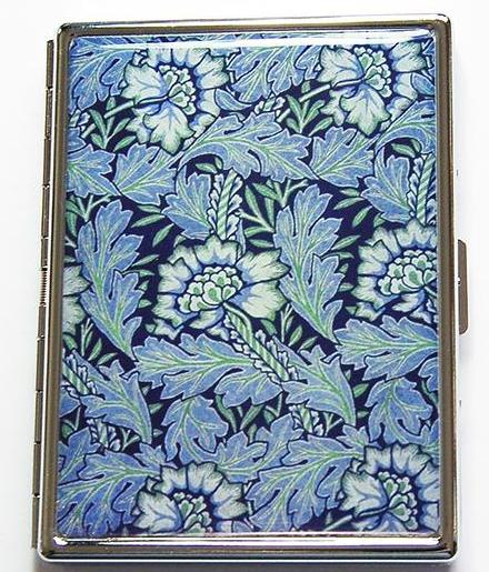 William Morris Design Slim Cigarette Case in Blue & Green - Kelly's Handmade