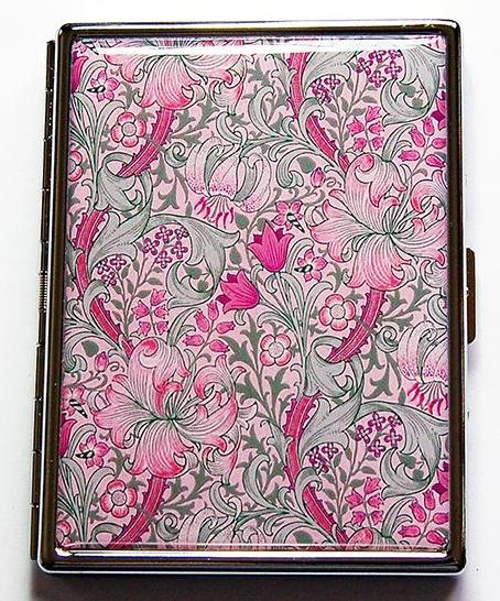 Floral Mosaic Slim Cigarette Case in Pink & Green - Kelly's Handmade