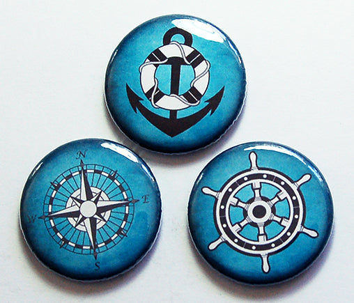 Nautical Magnet Trio in Blue - Kelly's Handmade