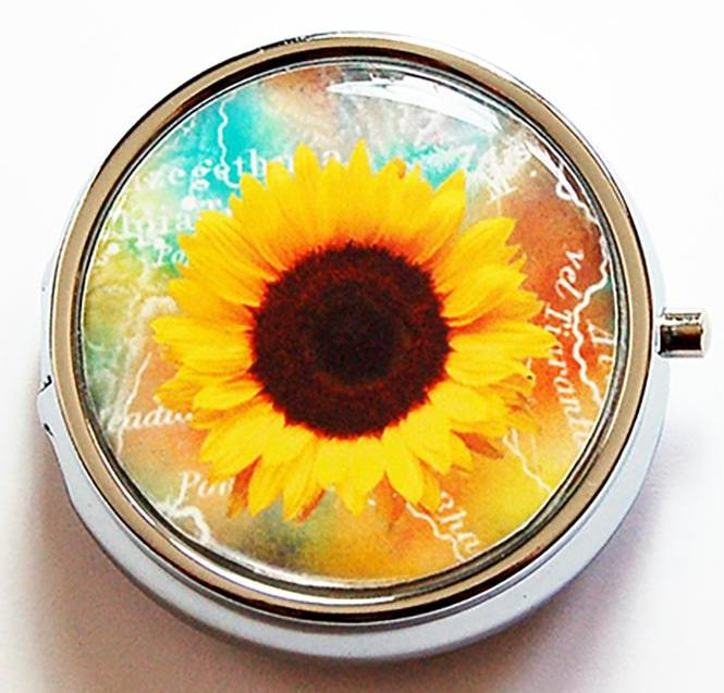 Sunflower Round Pill Case - Kelly's Handmade