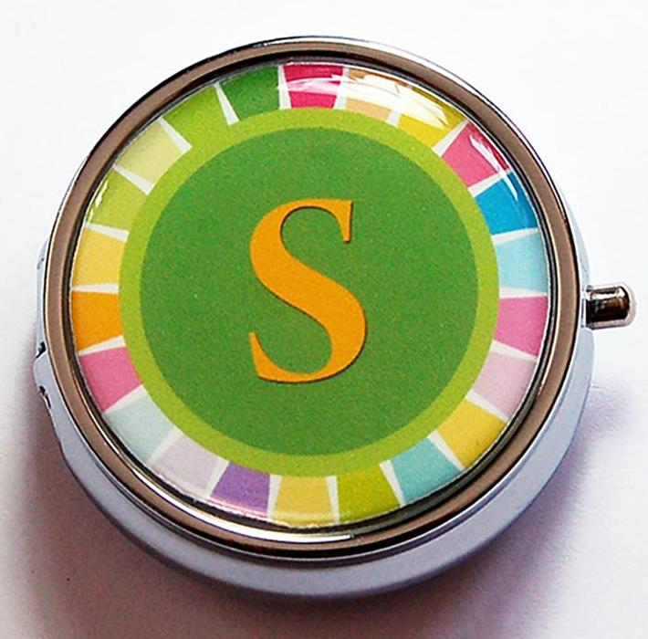 Rainbow Monogram Round Pill Case in Bright Colors - Kelly's Handmade