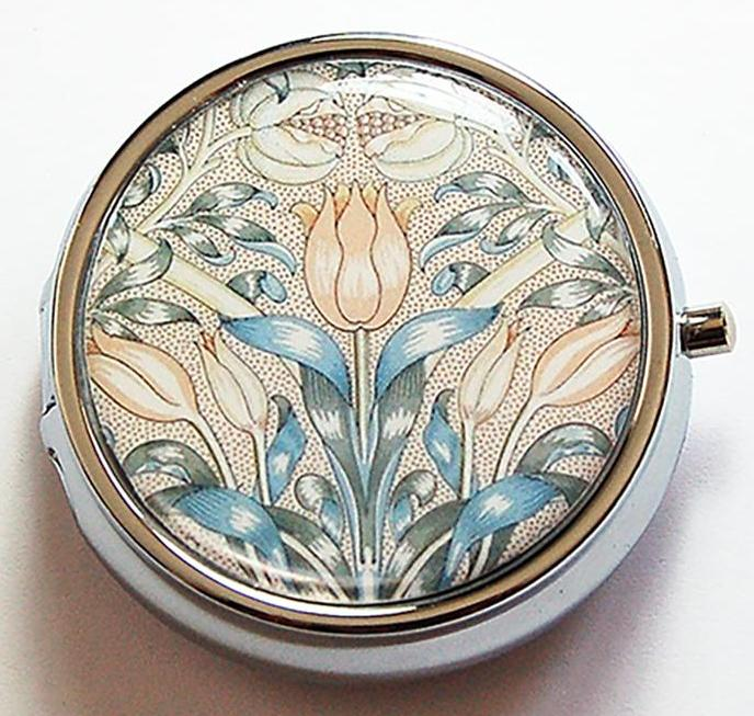 Decorative Arts Round Pill Case in Beige & Blue - Kelly's Handmade