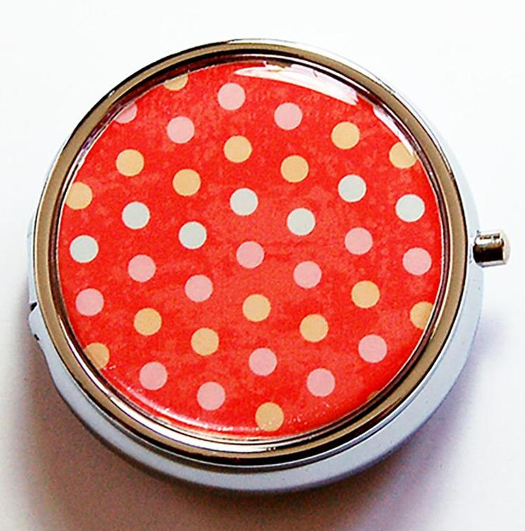 Orange Polka Dot Round Pill Case - Kelly's Handmade
