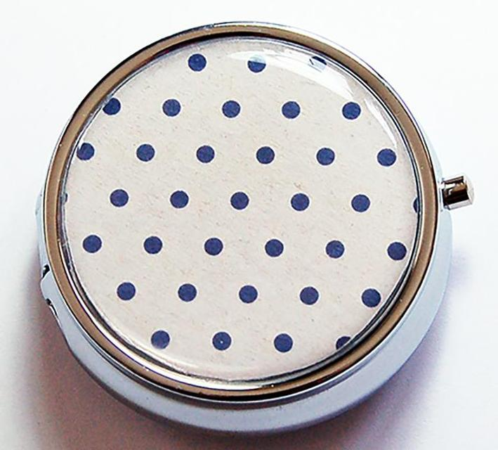 Ivory & Navy Blue Polka Dot Round Pill Case - Kelly's Handmade