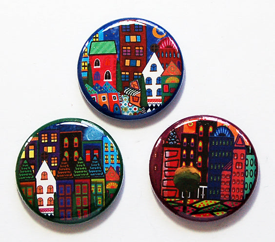 Funny Colored Houses Magnet Trio - Kelly's Handmade
