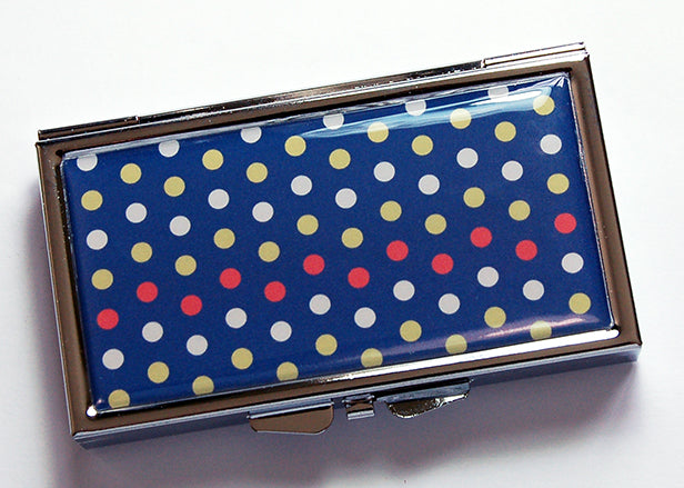 Polka Dot 7 Day Pill Case on Blue - Kelly's Handmade