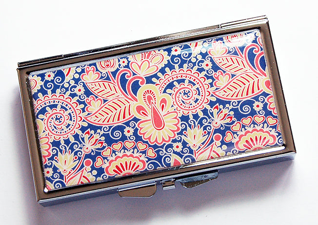 Paisley 7 Day Pill Case on Blue, Red & Yellow - Kelly's Handmade