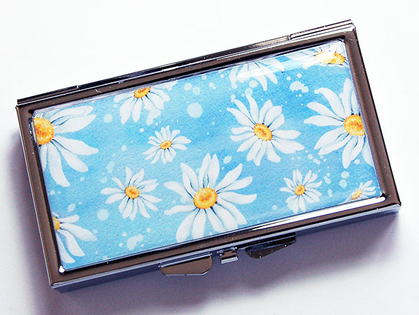 Daisy 7 Day Pill Case on Blue - Kelly's Handmade