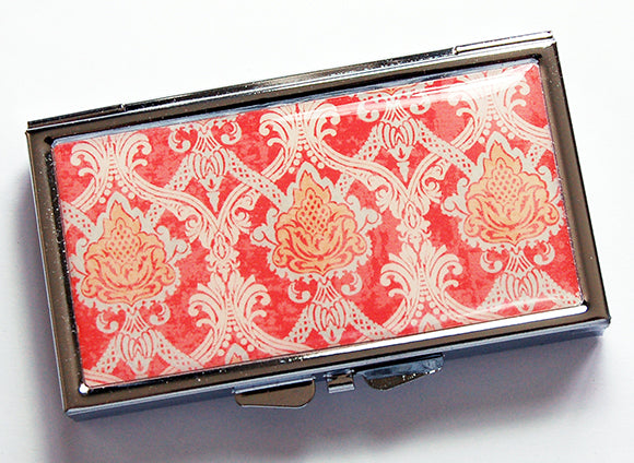 Paisley 7 Day Pill Case in Orange - Kelly's Handmade