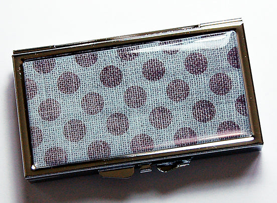 Polka Dot 7 Day Pill Case in Blue & Grey - Kelly's Handmade