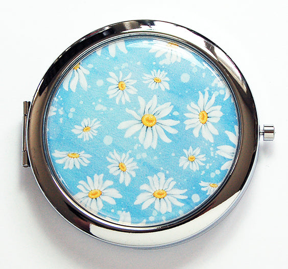 Daisy Compact Mirror in Blue - Kelly's Handmade