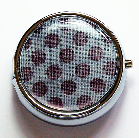 Polka Dot Round Pill Case in Blue & Grey - Kelly's Handmade
