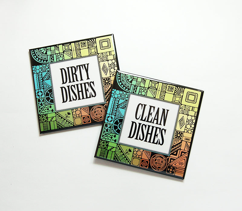 Art Deco Clean & Dirty Dishwasher Magnets - Kelly's Handmade