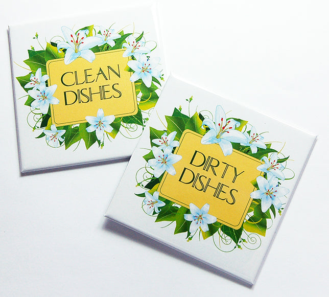 Floral Clean & Dirty Dishwasher Magnets in Yellow & Green - Kelly's Handmade