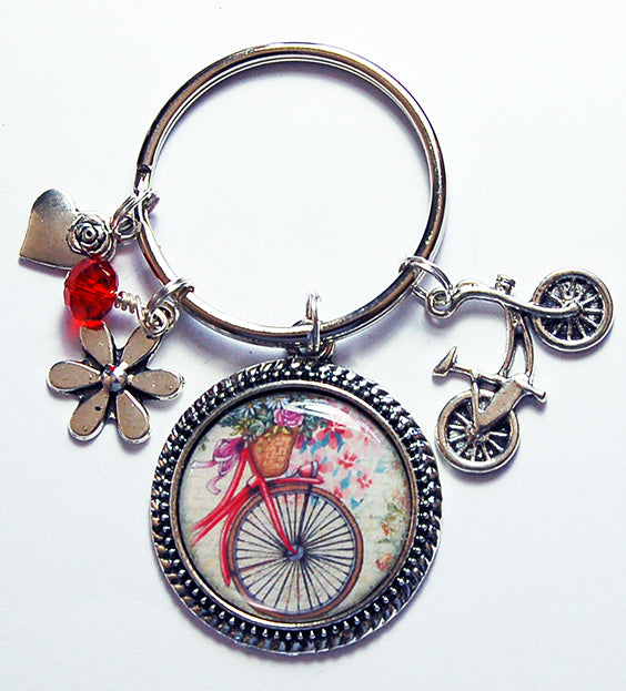 Bicycle & Flowers Keychain - Kelly's Handmade