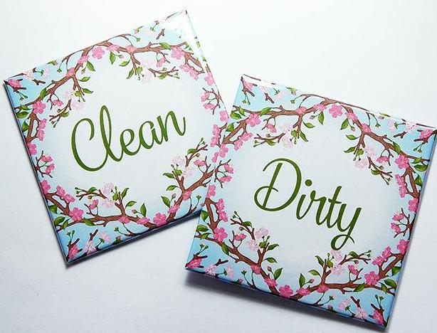 Floral Clean & Dirty Dishwasher Magnets in Pink & Blue - Kelly's Handmade