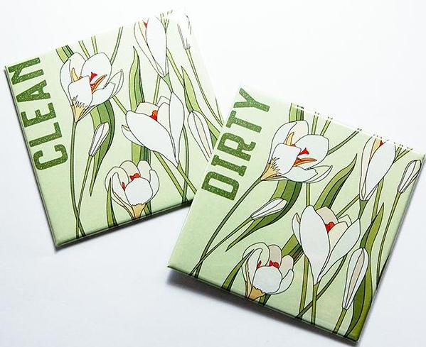 Tulips Clean & Dirty Dishwasher Magnets in Green & White - Kelly's Handmade