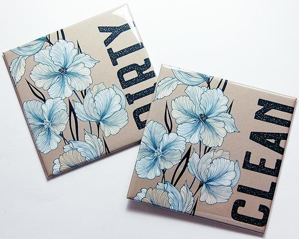 Flower Clean & Dirty Dishwasher Magnets in Teal Blue on Light Brown - Kelly's Handmade
