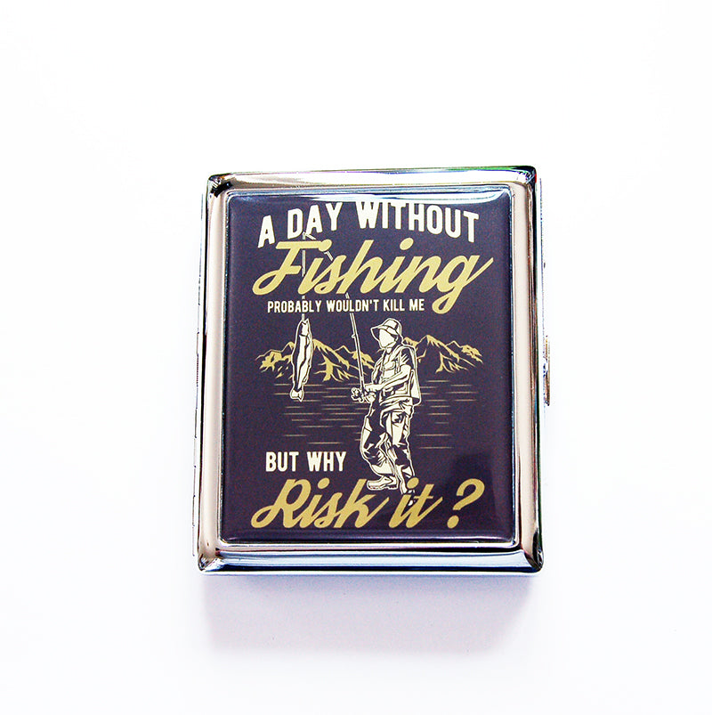 A Day Without Fishing Compact Cigarette Case - Kelly's Handmade