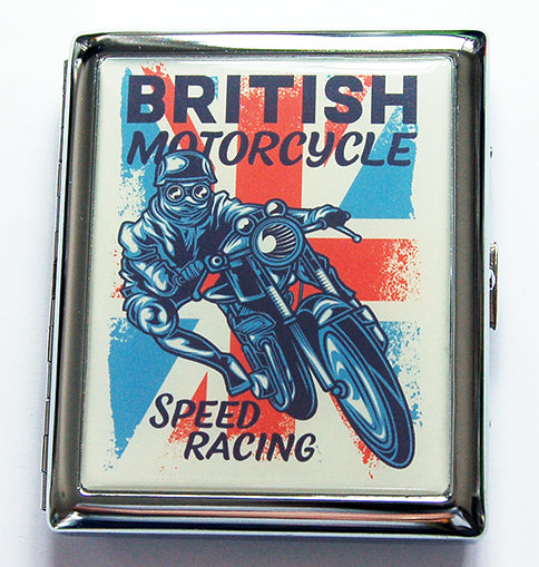 British Motorcycle Speed Racing Compact Cigarette Case - Kelly's Handmade
