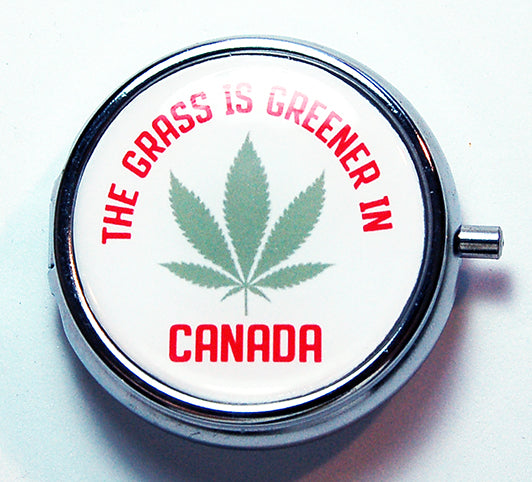 The Grass Is Greener In Canada Round Pill Case - Kelly's Handmade