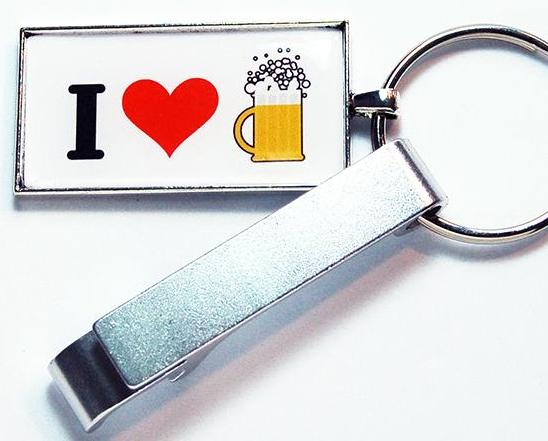I Love Beer Keychain Bottle Opener - Kelly's Handmade