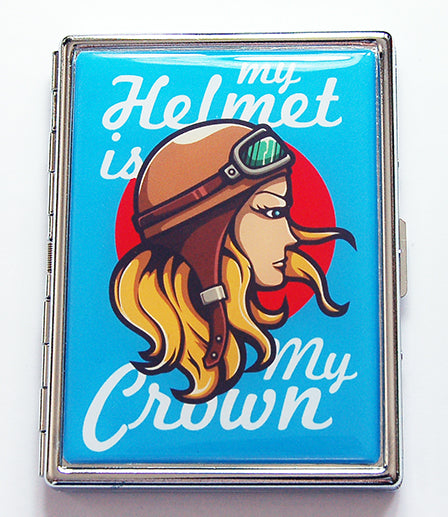 Helmet Is My Crown Slim Cigarette Case - Kelly's Handmade