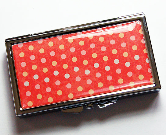 Polka Dot 7 Day Pill Case in Orange - Kelly's Handmade