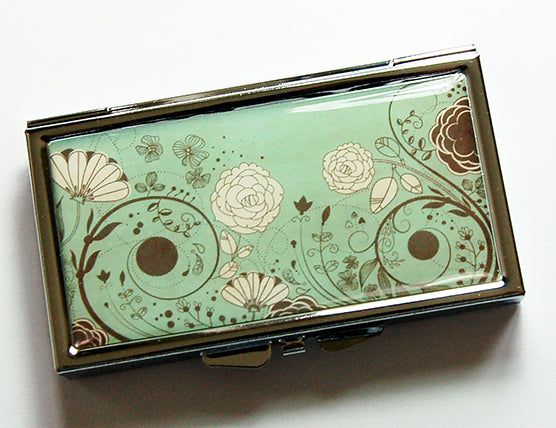 Floral 7 Day Pill Case in Green & Brown - Kelly's Handmade