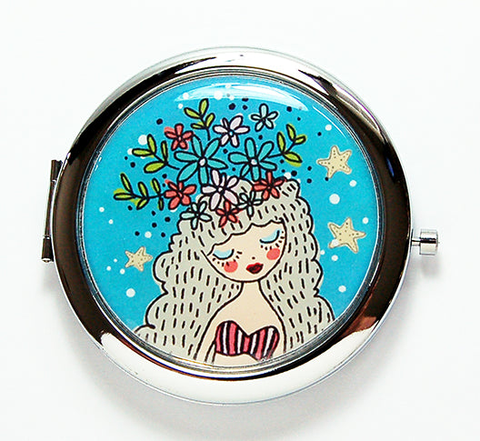 Girl With Flower Crown Compact Mirror - Kelly's Handmade