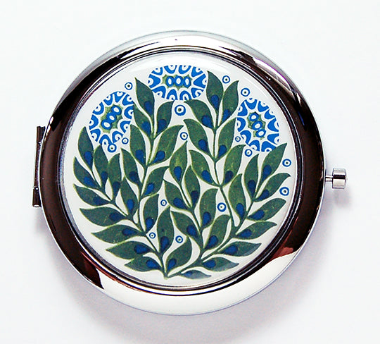 Flower Compact Mirror in Green & Blue - Kelly's Handmade