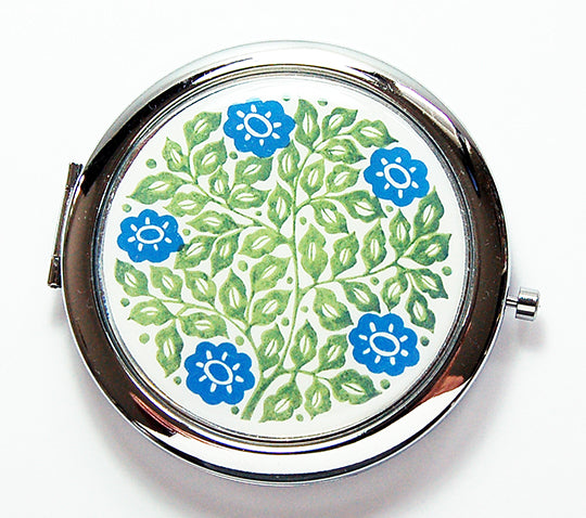 Flower Compact Mirror in Blue & Green - Kelly's Handmade