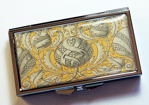 Ornate Patterned 7 Day Pill Case in Yellow & Gray - Kelly's Handmade