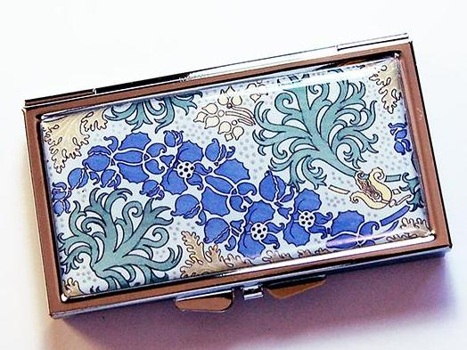 Vintage Pattern 7 Day Pill Case in Blue & Green - Kelly's Handmade