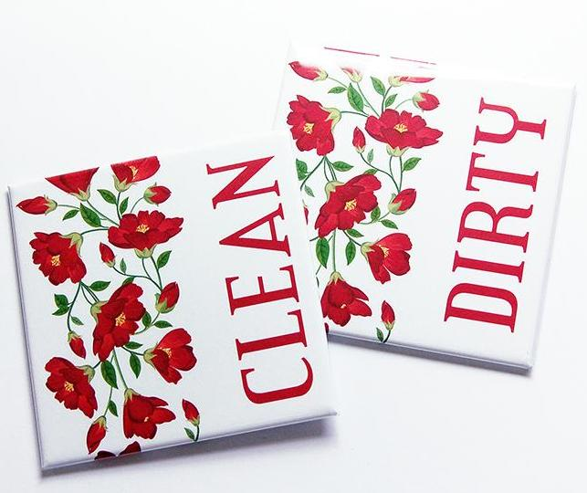 Red Poppies Dishwasher Magnets - Kelly's Handmade